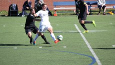 Forward David Goldsmith passes the ball during Butler's upset over #11 Providence.