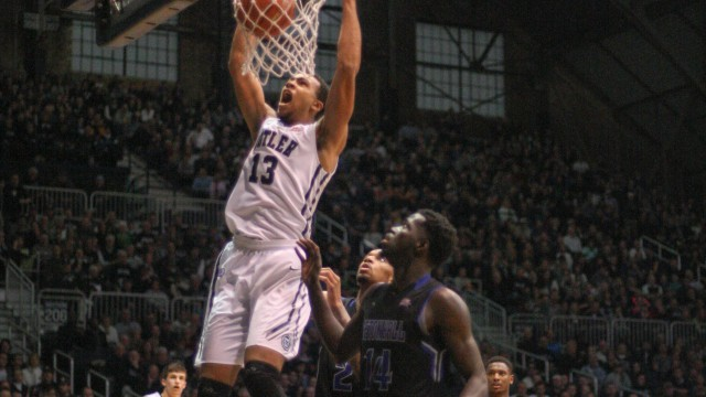 Freshman Jackson Davis dunks in a 77-57 win against Seton Hall Sunday.