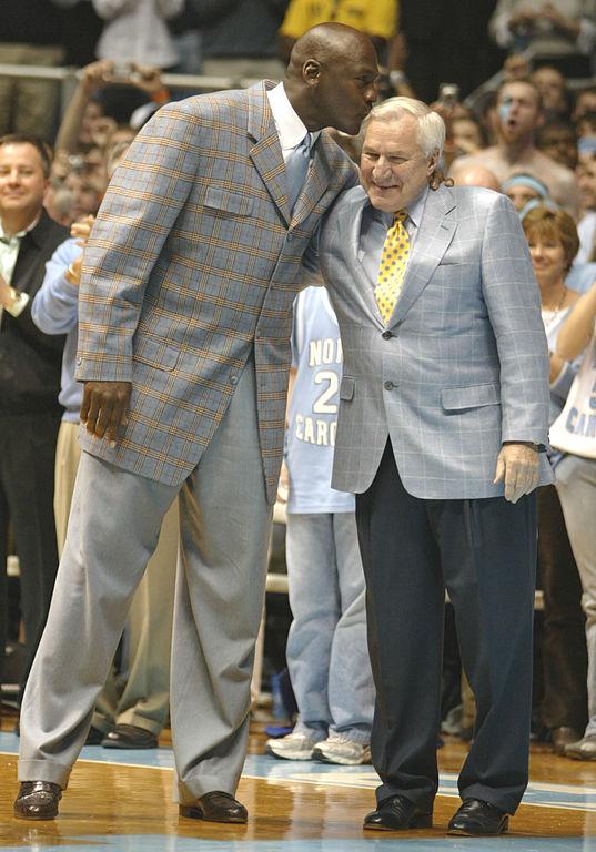 Michael Jordan (left), Dean Smith (right).