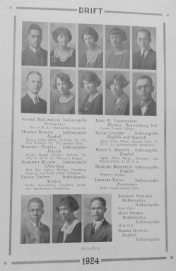 In 1924, African-American students were pictured together at the end of each class grouping in the yearbook, separate from their classmates. The Klan impacted the social life of minority students.