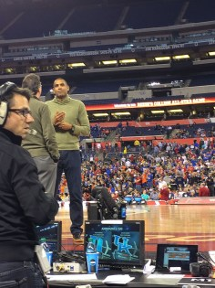 (Photo by Kyle Beery) Grant Hill called his first Final Four Monday night on CBS.