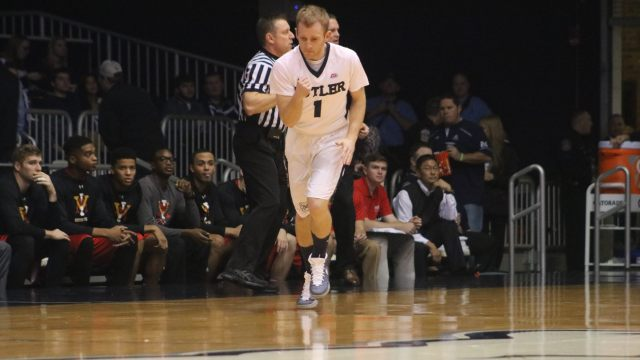 Butler's Tyler Lewis (1) played 31 minutes and recorded 12 points, 5 assists and 3 rebounds in the team's 93-66 win over VMI on Monday. (Photo by Jimmy Lafakis)
