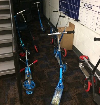 Athletes' scooters collect in the basement of Hinkle Fieldhouse. - Photo courtesy of Scott McDowell