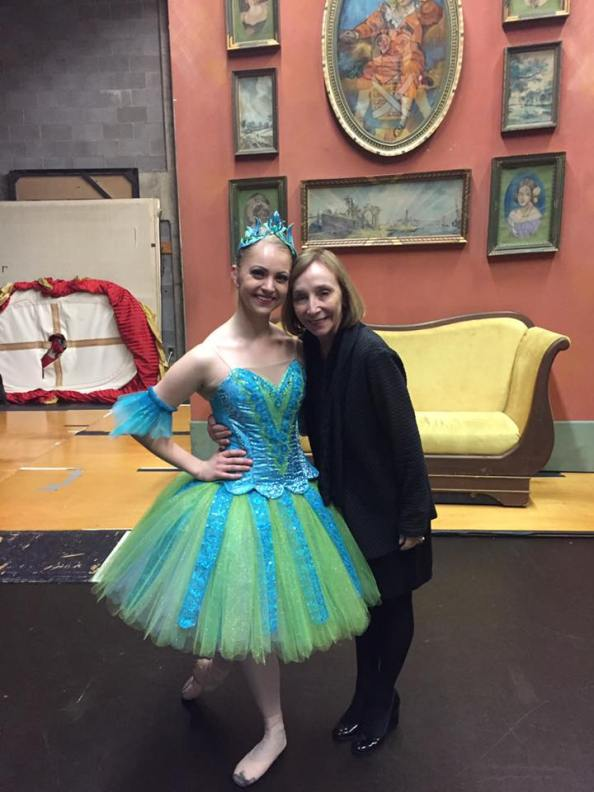 Jarvis poses with senior Hope Hagen after the recent performance of The Nutcracker.