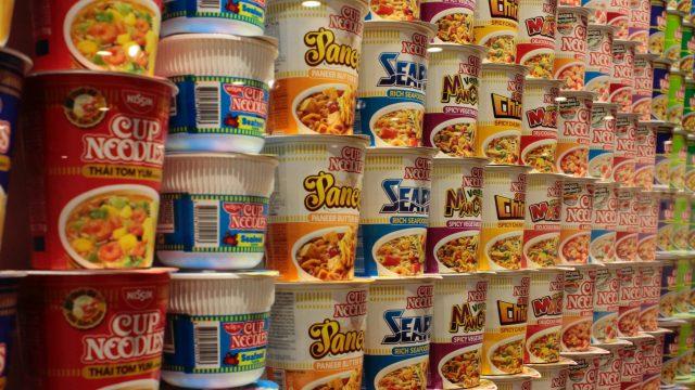 A wall of ramen noodles