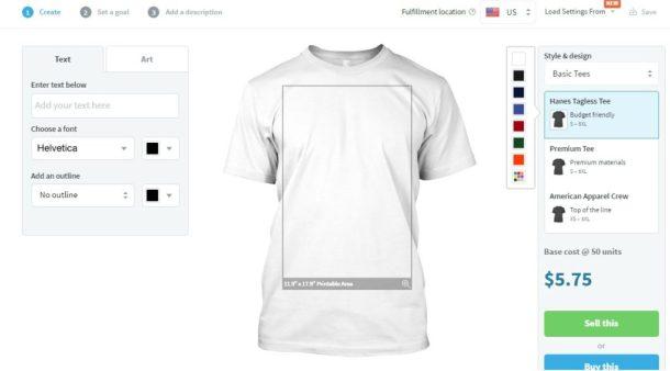 Selling shirts on Teespring