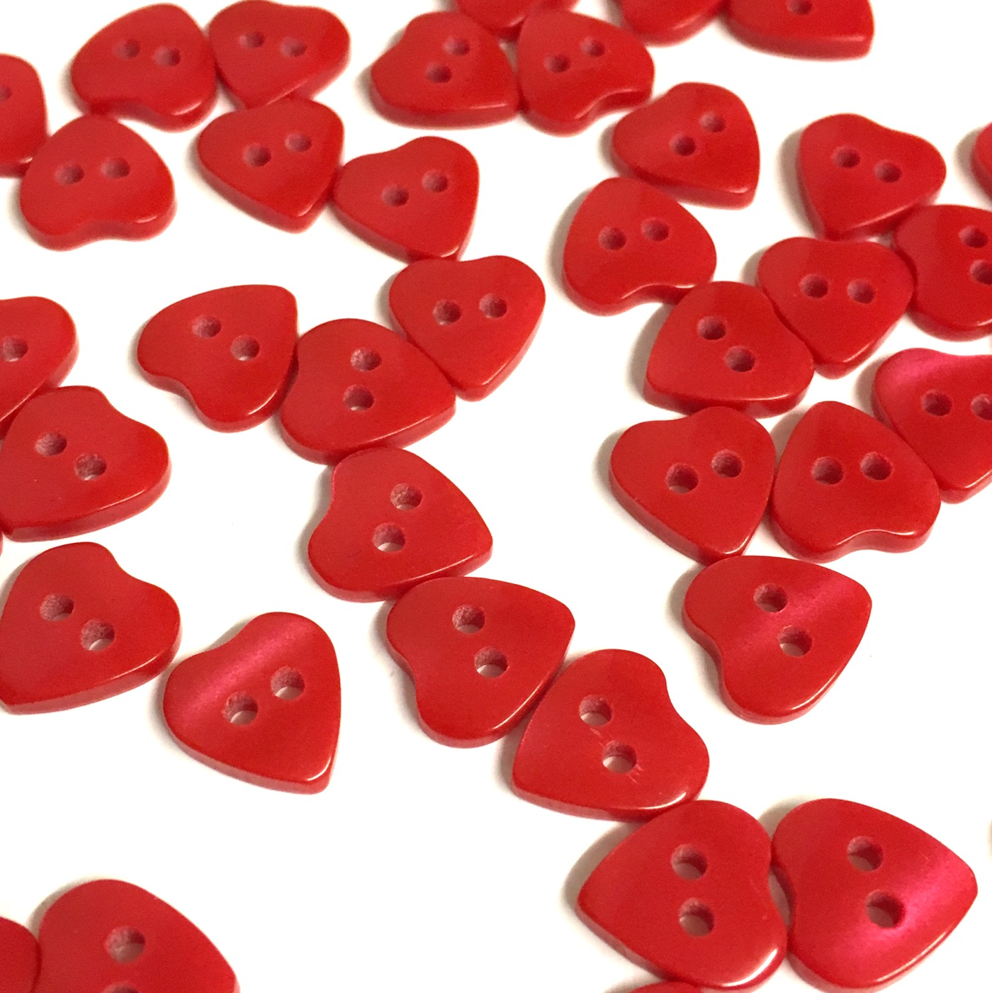 10 x 10mm mini opalescent heart shaped buttons - The Button Shed