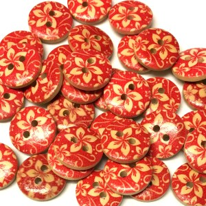 15mm red floral pattern wood buttons