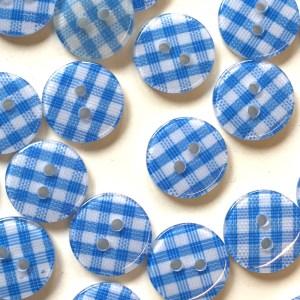 blue gingham buttons