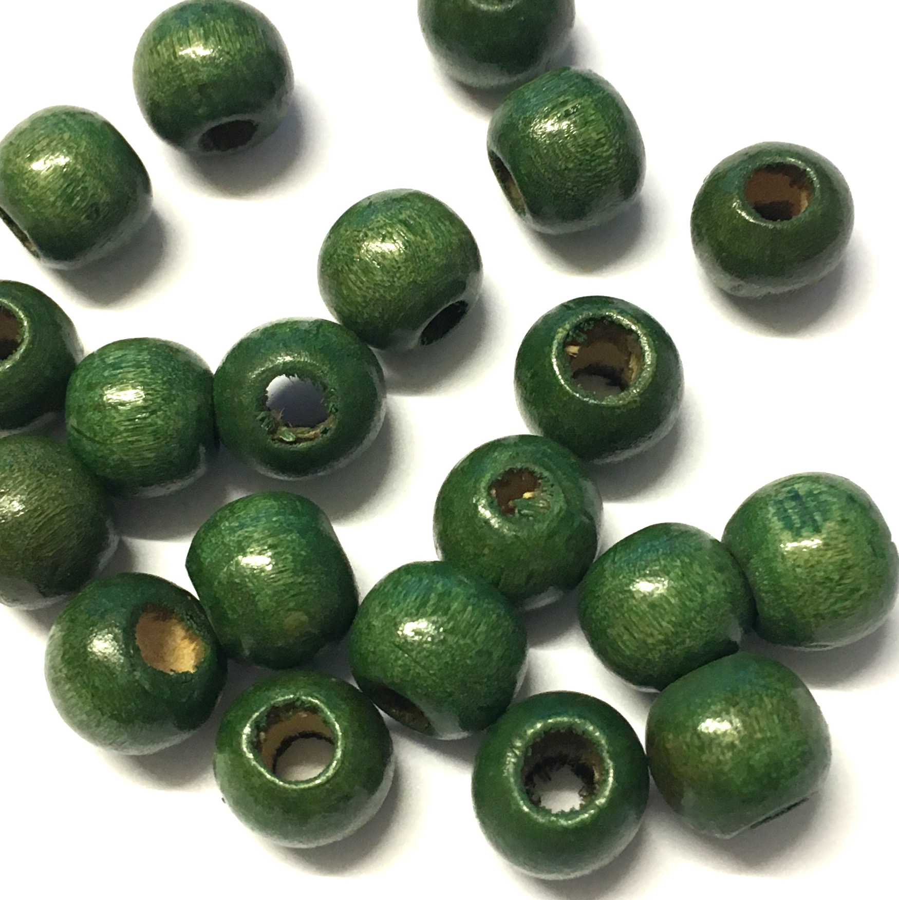 10mm Green Wooden Beads Pack Of 50 The Button Shed