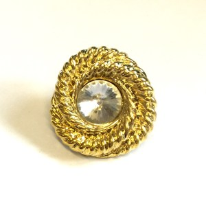 gold diamante button