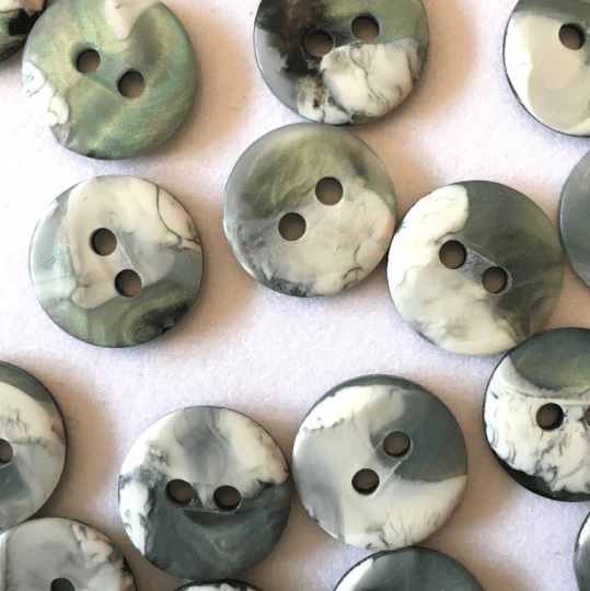 marbled green buttons