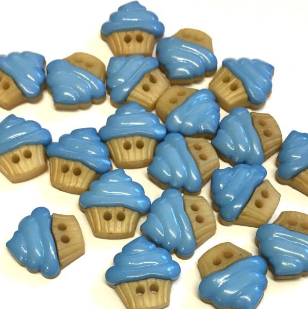 blue cupcake buttons
