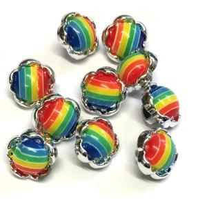 rainbow flower buttons