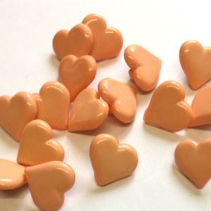 peach heart buttons