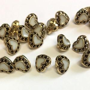 gold heart buttons