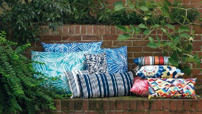 Outdoor pillows bring color to the patio