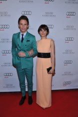 Eddie Redmayne and Felicity Jones arrive at Patria for the film party presented by Audi after the special presentation screening of The Theory of Everything during the Toronto International Film Festival.