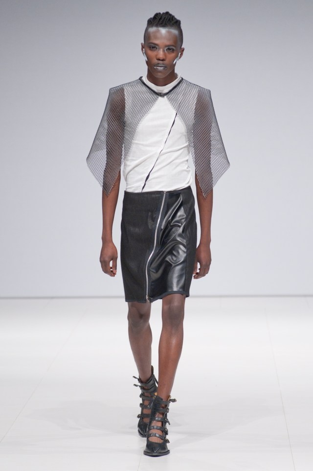 Model/designer Victor Keita walking for Dystropolis at FAT 2015
