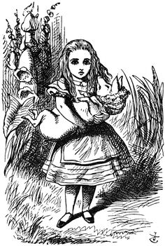 Alice finds herself with the piglet, Illustration for the sixth chapter of Lewis Carroll's Alice in Wonderland, by John Tenniel