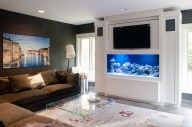 Built-in Saltwater fish tank cabinetry with flip up flat screen tv. custom cabinetry