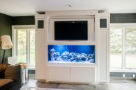 Built-in Saltwater fish tank cabinetry with flip up flat screen tv.