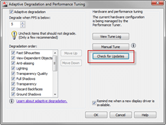 Adaptive Degradation And Performance Tuning dialog