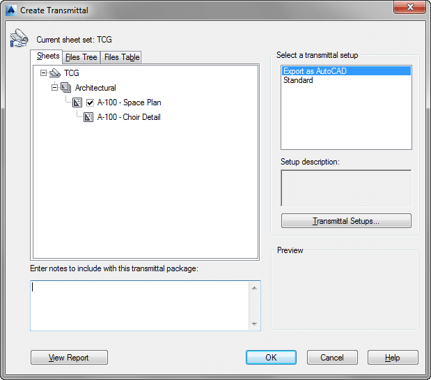 Creating a new eTransmit Transmittal using Sheet Set Manager