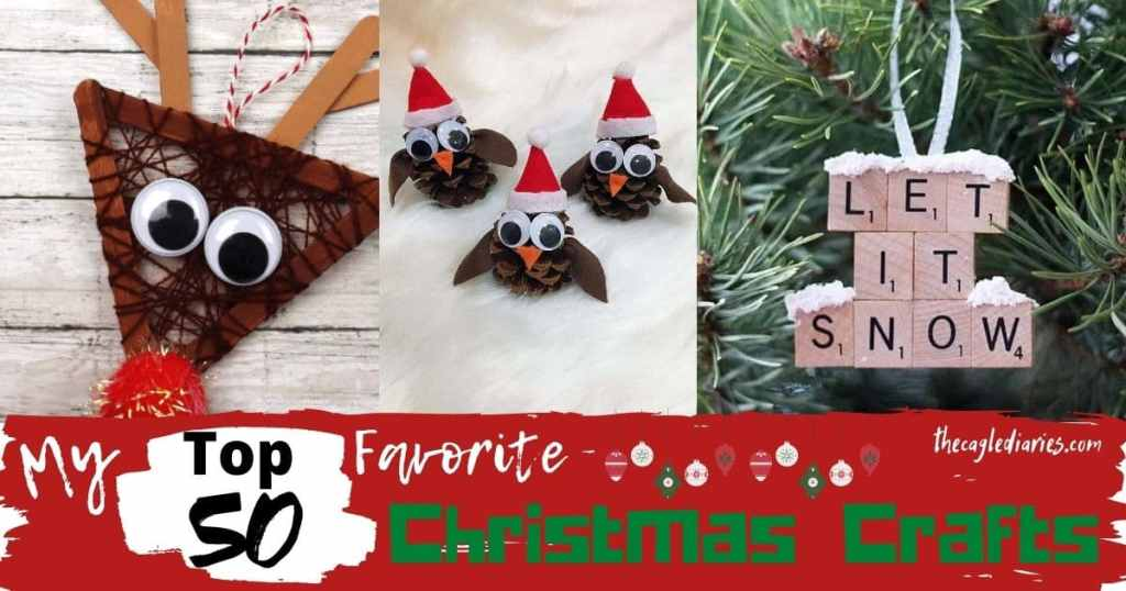 Image with three DIY crafts, reindeer head made out of popsicle sticks, owls made out of pine cones and a tree ornament made out of scrabble tiles that reads Let it Snow.