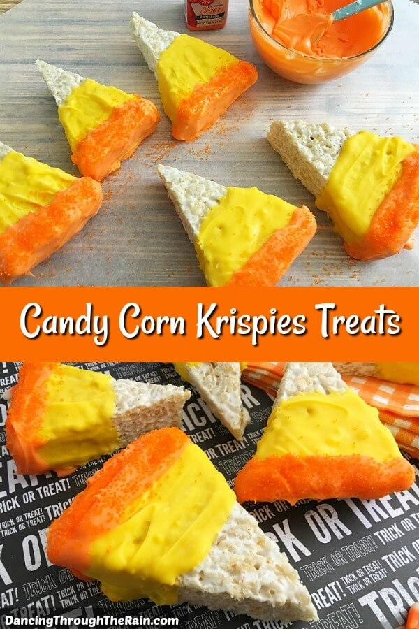 Triangles of rice krispie treats decorated in orange and yellow to make them look like candy corn.