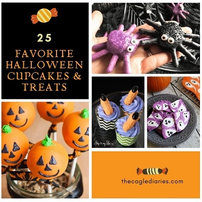 collage of halloween cupcakes and treats