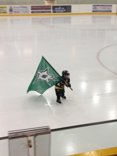 Carrying his team's flag onto the ice