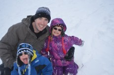 Peter and the Kids after a couple hours of tobogganing