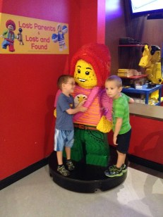 AIden and William in front of Lego Character