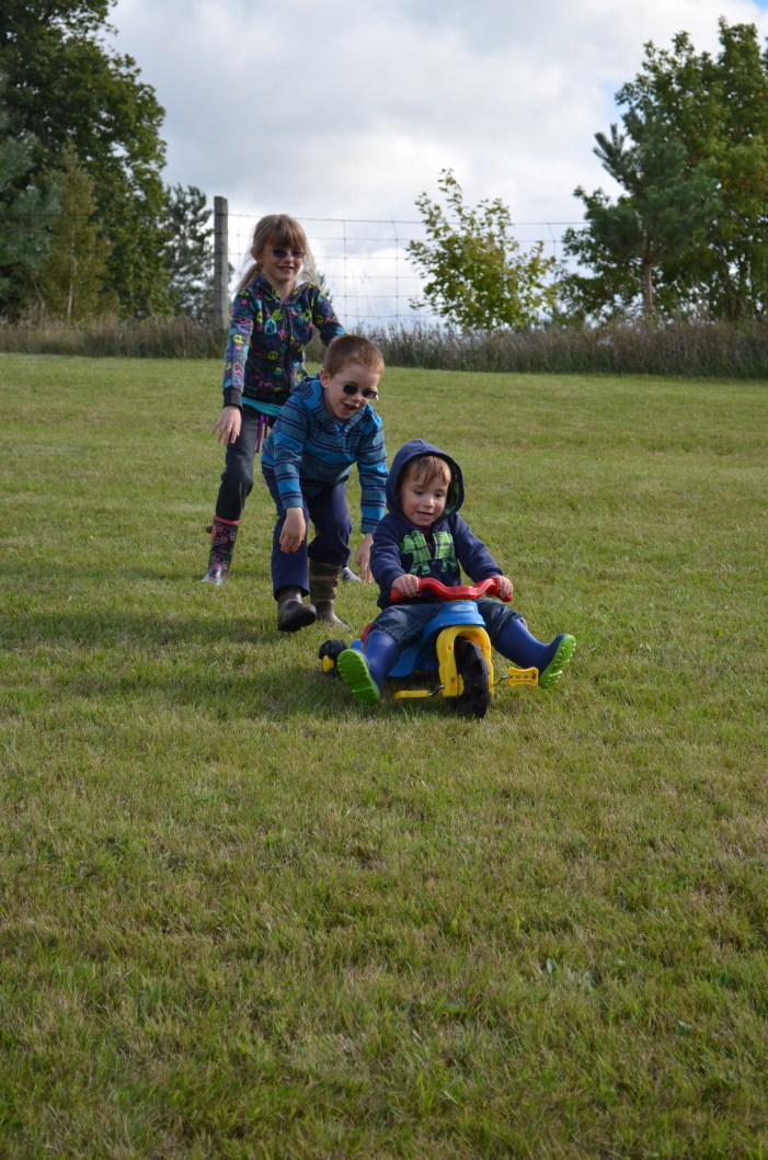 Macklan getting a double push from Abby and Aiden
