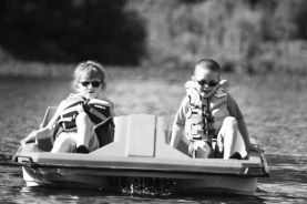 Abby and Aiden using the paddle boat.
