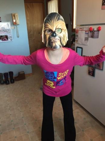 Abby (AKA Chewbacca) getting ready to go see Star Wars