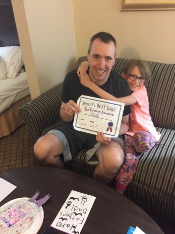 Peter with World's Best Dad Certificate