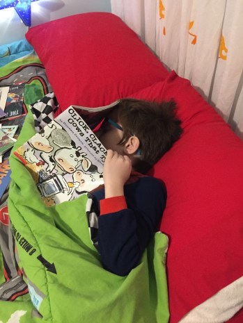 Aiden fell asleep reading Click, Clack, Moo