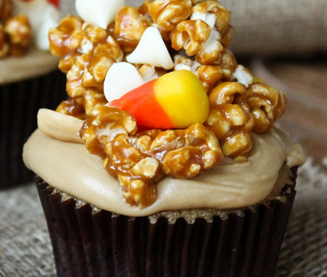 Caramel Corn Cupcakes For Halloween Caramel Cupcakes Topped With Caramel Frosting And Caramel Popcorn Studded