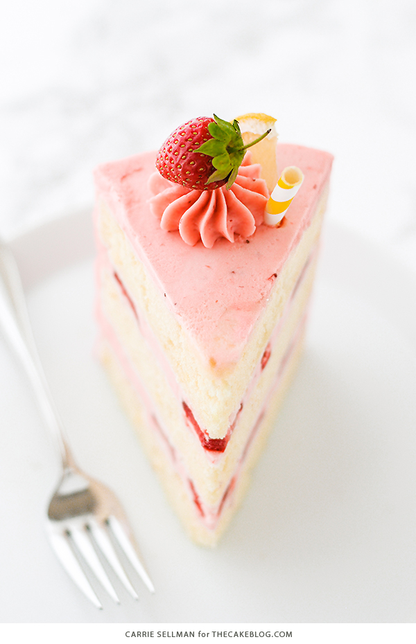 Strawberry Lemonade Cake - tender lemon cake paired with fresh strawberry buttercream | by Carrie Sellman for TheCakeBlog.com