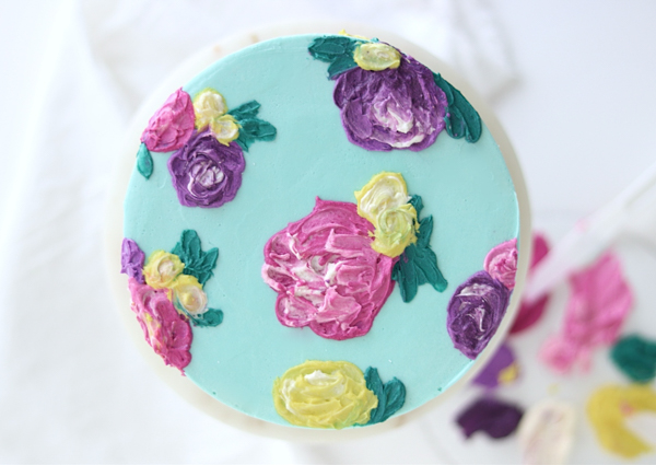Painted Buttercream Flower Cake   by Whitney DePaoli for TheCakeBlog.com