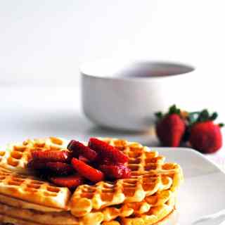 Waffles of Insane Greatness with Fresh Strawberry Compote