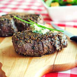 Pepper-Crusted Filet Mignons with Blue Cheese-Chive Butter