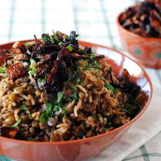 Rice and Lentils with Crispy Onions