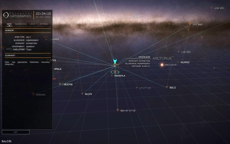 The galaxy map allows you to plan your journeys. My current frame shift drive will allow me to jump to the systems with connected lines. Increasing ship mass, either by taking on board cargo or installing heavier components, will decrease maximum jump range (beta 2 screenshot)