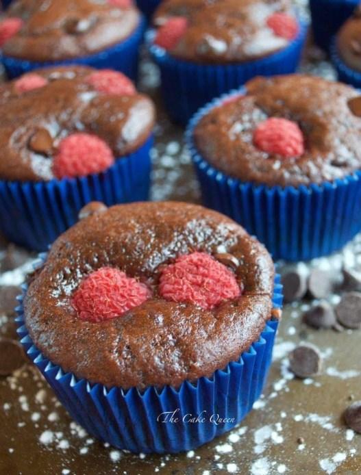 Muffins de frambuesas y chocolate