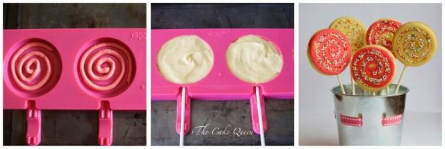 Piruletas de bizcocho y chocolate, paso a paso de las piruletas de bizcocho de dos colores