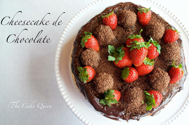 Cheesecake de chocolate, vista cenital de la cheesecake