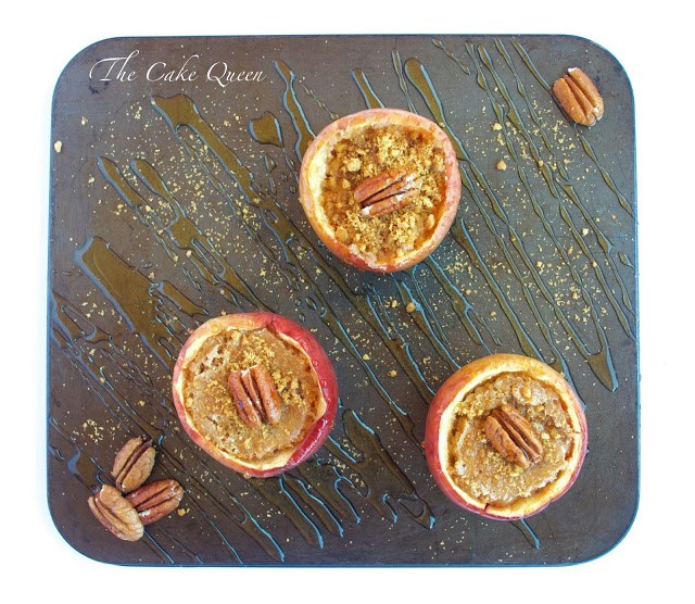 Manzanas rellenas de cheesecake, vista cenital